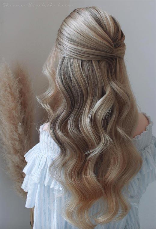 half up half down hairstyles ideas38